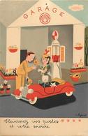 Themes Div-ref FF552-illustrateurs -illustrateur Peynet - Publicité Garage - Pompe D Essence Compagnie Shell - - Peynet