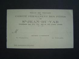 CARTE Ancienne 1925 : COMITE DES FETES / ST JEAN DU VAR / TOULON ( 83 ) - Visiting Cards