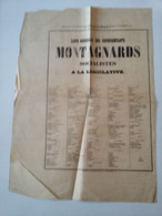 """Affiche  """" Liste Générale Des Représentants Montagnards Socialistes à La Législative  """" 1849 ( 2 è République ) - Posters"""