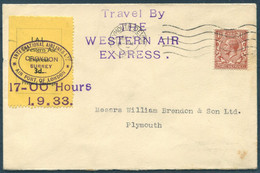 1933 GB International Airlines Ltd / Western Air Express (September 1st) Flight Cover. Croydon - Plymouth - Covers & Documents