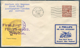 1933 GB International Airlines Ltd / Western Air Express First Flight Cover. Croydon  London / Southampton (12 Flown?) - Covers & Documents