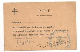 CARTE ACCREDITATION DU RPF / VIIIEME PARIS     C1086 - Historische Dokumente
