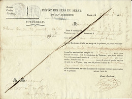 Navigation Sur La Loire, 1824 - Transport De Fer Par Le Voiturier Par Eau De Saint Cyr Sur Loire - Historische Dokumente