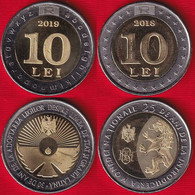 "Moldova Set Of 2 Coins: 10 Lei 2018-2019 ""Currency, Language"" BiMetallic UNC - Moldova"