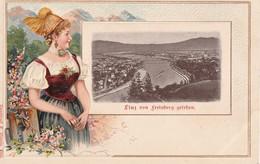 AUTRICHE LINZ Linz Von Freinberg Gefchen Costume  Folklore Gaufrée CPA Parfaite - Linz