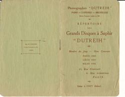 """PHONOGRAPHES """"Dutreih"""" - Répertoire Des Grands Disques à Saphir, 1909 - Frankreich"""