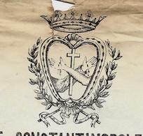 1872 TURQUIE + ITALIE CERTIFICAT  CONSTANTINOPLE PAROISSE DE SANTA MARIA  CACHET LEGALISATION CONSULAT  ITALIE - Historische Dokumente
