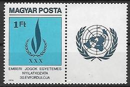 UNGHERIA 1979 DICHIARAZIONE DEI DIRITTI DELL'UOMO YVERT. 2646 USATO VF CON BANDELLA - Used Stamps