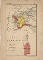CARTA GEOGRAFICA REGNO DI SARDEGNA NEL 1859 C. De ALBERTI 1902 - Geographical Maps