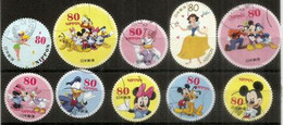 JAPON. Tokyo Disneyland Characters In Stamps .  Nice Lot Of 10 Different Fine Used Stamps,  1st Quality (ODD SHAPE) # 1 - Disney