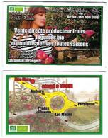 Carte De Visite - Vente Directe Producteur Fruits Légumes Bio Et Produits Dérivés Toutes Saisons - Prades [66] - Visiting Cards