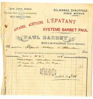 47  MONCLAR D AGENAIS  ECLAIRAGE CHAUFFAGE  LYRES LUSTRES   -  PAUL BARBET   -   FACTURE 1906 - Elektriciteit En Gas