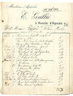 47  MONCLAR D AGENAIS  MACHINES AGRICOLES  -  E  GRILLIE    -   FACTURE 1906 - Landbouw