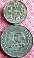 2X NEDERLAND :1 + 10 CENT 1942 KM 170/173 - 10 Cent