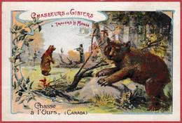 Chasse à L'ours Au Canada. Série Chasseurs Et Gibiers à Travers Le Monde. Paillettes Maire. Pharmacie. Paris. - Kaufmanns- Und Zigarettenbilder