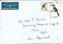 Kenya Cover Sent Air Mail To Denmark Topic Stamps BIRDS - Kenya (1963-...)
