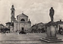 BRESCELLO-REGGIO EMILIA-PIAZZA PRINCIPALE E CHIESA PARROCCHIALE-CARTOLINA VERA FOTOGRAFIA- VIAGGIATA IL 26-8-1956 - Reggio Nell'Emilia