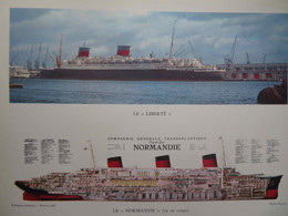 GRANDE PHOTO : MARINE : PAQUEBOTS « LIBERTÉ » ET « NORMANDIE » 1956- - Barche