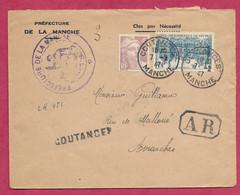 Manche-Enveloppe Recommandée De Coutances - Poststempel (Briefe)