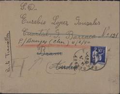Guerre D'Espagne Retirada Travailleur 9 Cia YT Timbre Franchise F Pour Réfugiés Espagnols N°10 CAD Darney Vosges 2 2 40 - Poststempel (Briefe)
