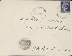 Guerre D'Espagne Retirada YT 10 Franchise F CAD Servian 16 8 39 Pour SERE Service évacuation Réfugiés Espagnols - Poststempel (Briefe)
