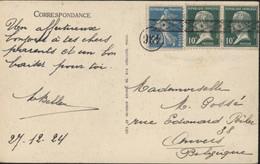 YT 170 X2 Pasteur + 140 Semeuse Camée Bleu Oblitération 436 + Arrivée Roulette Belge Annulation Fin D'année - Poststempel (Briefe)