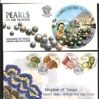 .PERLES ET COQUILLAGES F.D.C. 2001/2002 - Tonga (1970-...)