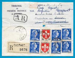 1959 Lettre Recommandée : Convocation Tribunal Première Instance De CASTRES (81 Tarn) Blason Lille + Marianne Muller - Poststempel (Briefe)