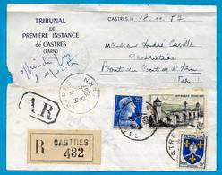 1957 Lettre Recommandée : Convocation Au Tribunal De Première Instance De CASTRES (81 Tarn) Affranchissement Composé - Poststempel (Briefe)