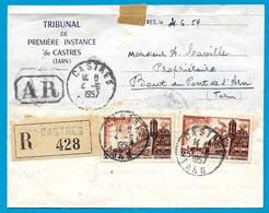 1957 Lettre Recommandée : Convocation Au Tribunal De Première Instance De CASTRES (81 Tarn) Affranchissement TP Brouage - Poststempel (Briefe)