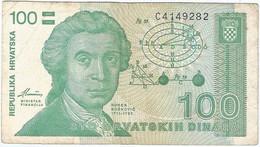 Croacia - Croatia 100 Dinara 8-10-1991 Pk 20.a Ref 599-2 - Kroatien