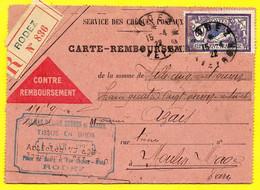 1922 CARTE-REMBOURSEMENT Recommandée Déposée à RODEZ Affranchissement Type MERSON - Poststempel (Briefe)