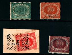 20807) SAN MARINO-Cifra E Stemma In Cornice Ovale - 1 Agosto 1877- 4 VALORI USATI - Saint-Marin