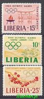 Liberia 1964 Mi 623-625 MNH ( ZS5 LBR623-625 ) - Summer 1964: Tokyo