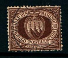 20813) SAN MARINO-30 C. • Stemma In Cornice Ovale •  Bruno - 1 Agosto 1877- USATO - Saint-Marin