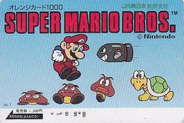 Carte Orange JAPON - NINTENDO - SUPER MARIO & TORTUE TURTLE Tortoise - Jeu Video Game JAPAN Prepaid JR Card  12348 - Comics