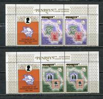 PENRHYN 1974 MI # 56 - 57 CENTENARY OF UNIVERSAL POSTAL UNION Compl.paar Set + Label MNH - Penrhyn
