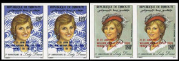 DJIBOUTI 1982 Diana's Hat Moda OVPT:Baby IMPERF.PAIRS:2 (4 Stamps) - Djibouti (1977-...)