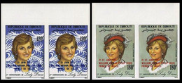 DJIBOUTI 1982 Diana Royal Birth William Hat Moda OVPT:Baby IMPERF.MARG.PAIRS:2 (4 Stamps) - Djibouti (1977-...)
