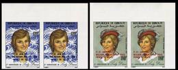 DJIBOUTI 1982 Diana Royal Birth William  Hat Moda OVPT:Baby IMPERF.CORNER PAIRS:2 (4 Stamps) - Djibouti (1977-...)