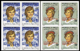 DJIBOUTI 1982 Diana's Hat Moda OVPT:Baby IMPERF.4-BLOCK:2 (8 Stamps) - Djibouti (1977-...)