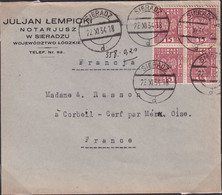 POLAND 1934 Sieradz To France Cover Old  Rate (over Paid) - 1919-1939 Republic
