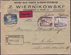 POLAND 1938 Registered/express BARANOWICZE To Wilno Cover - 1919-1939 Republic