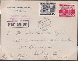 POLAND 1937 Airmail Cover Warsaw To Uk Cover - 1919-1939 Republic