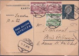 POLAND 1938 Postcard Airmail Wilno To France - 1919-1939 Republic