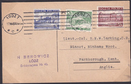 POLAND 1937 Postcard To Lieut-Col Larking Lodz To UK - 1919-1939 Republic