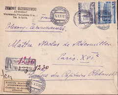 POLAND 1937 Registered Currency Control Cover Warsaw To France - 1919-1939 Republic