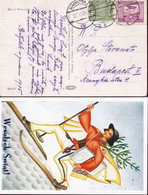 POLAND 1935 Postcard Airmail Bialystok To Hungary - 1919-1939 Republic