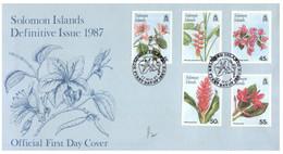 (P 15) Solomon Islands (1987) FDC Cover / Premier Jour (4 Covers) Flowers (from 5c To $ 5.00) - Salomoninseln (Salomonen 1978-...)
