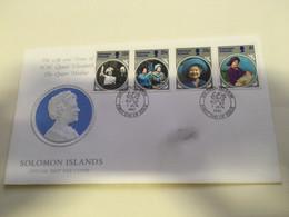 (P 15) Solomon Island (1985) FDC Cover / Premier Jour (2 Covers) Queen's Mother - Salomoninseln (Salomonen 1978-...)